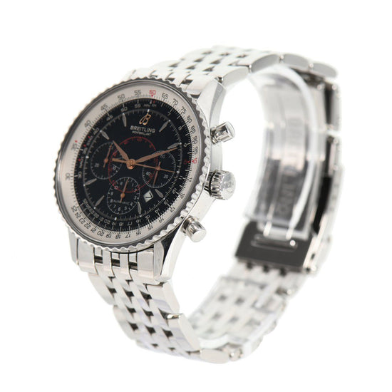 Breitling Montbrillant Chronograph A41370 Steel & Black 38mm Mens Watch