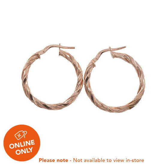 9ct Rose Gold Fashion Creole Earrings