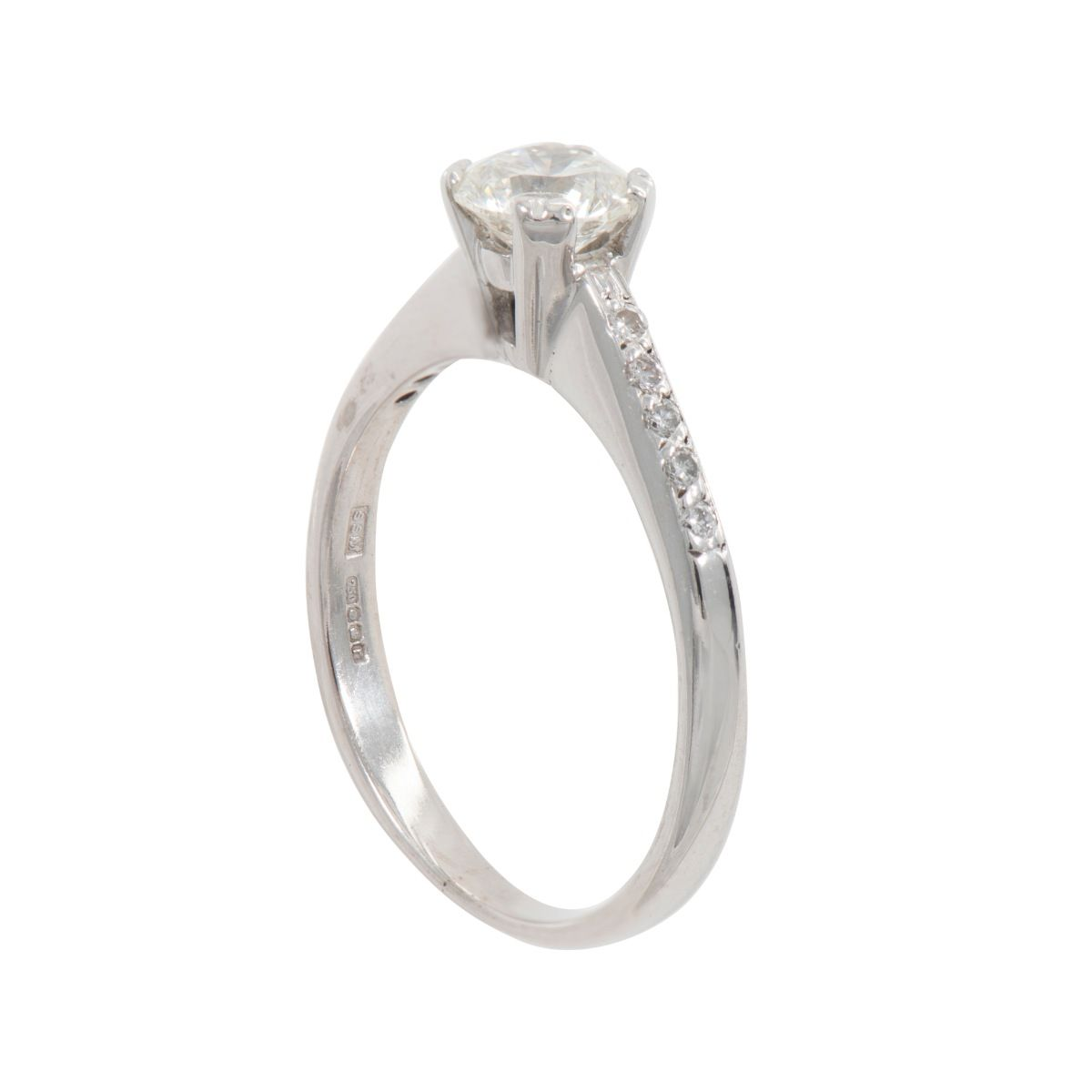 18ct White Gold Ladies Round 0.84ct Diamond Accent Solitaire Ring Size P