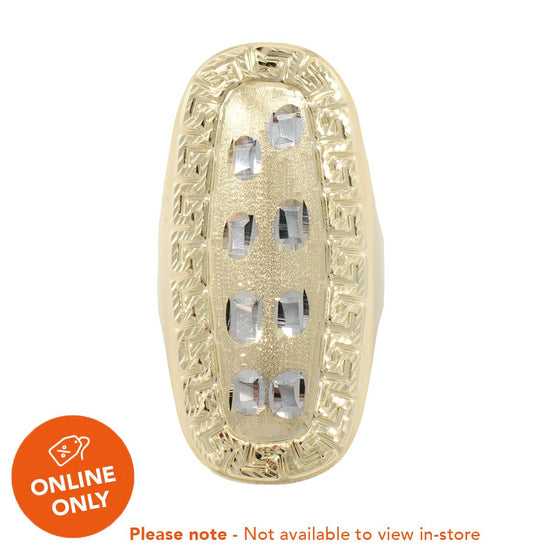 14ct Yellow & White Gold Decorative Dress/Cocktail Ladies Ring Size U