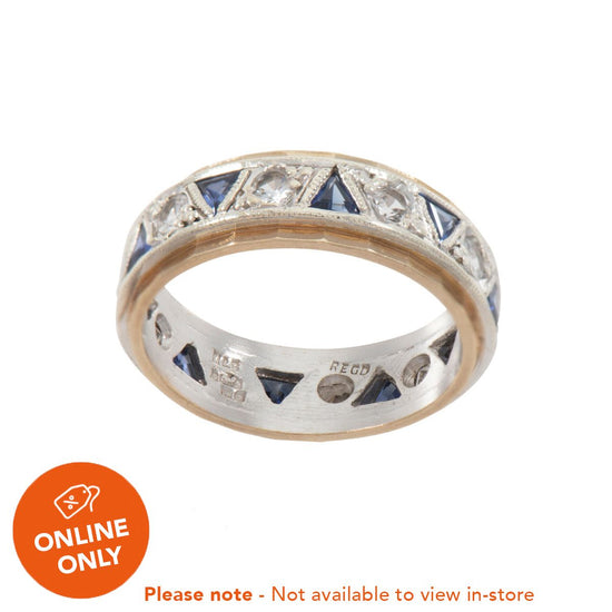 9ct Yellow Gold Sapphire & Cubic Zirconia Eternity Ring Size N