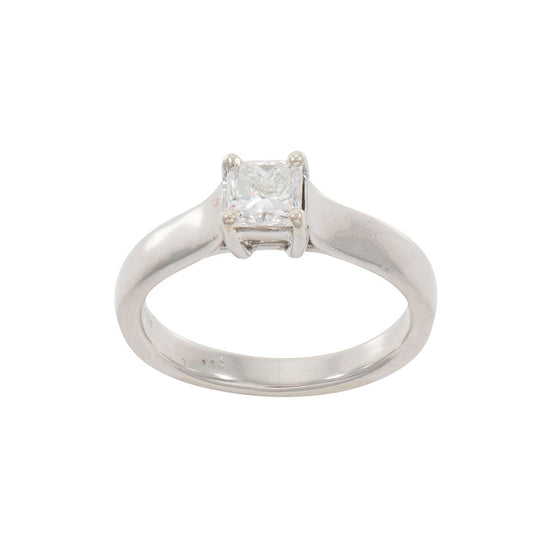 Platinum Ladies Round 0.59ct Diamond Solitaire Ring Size K