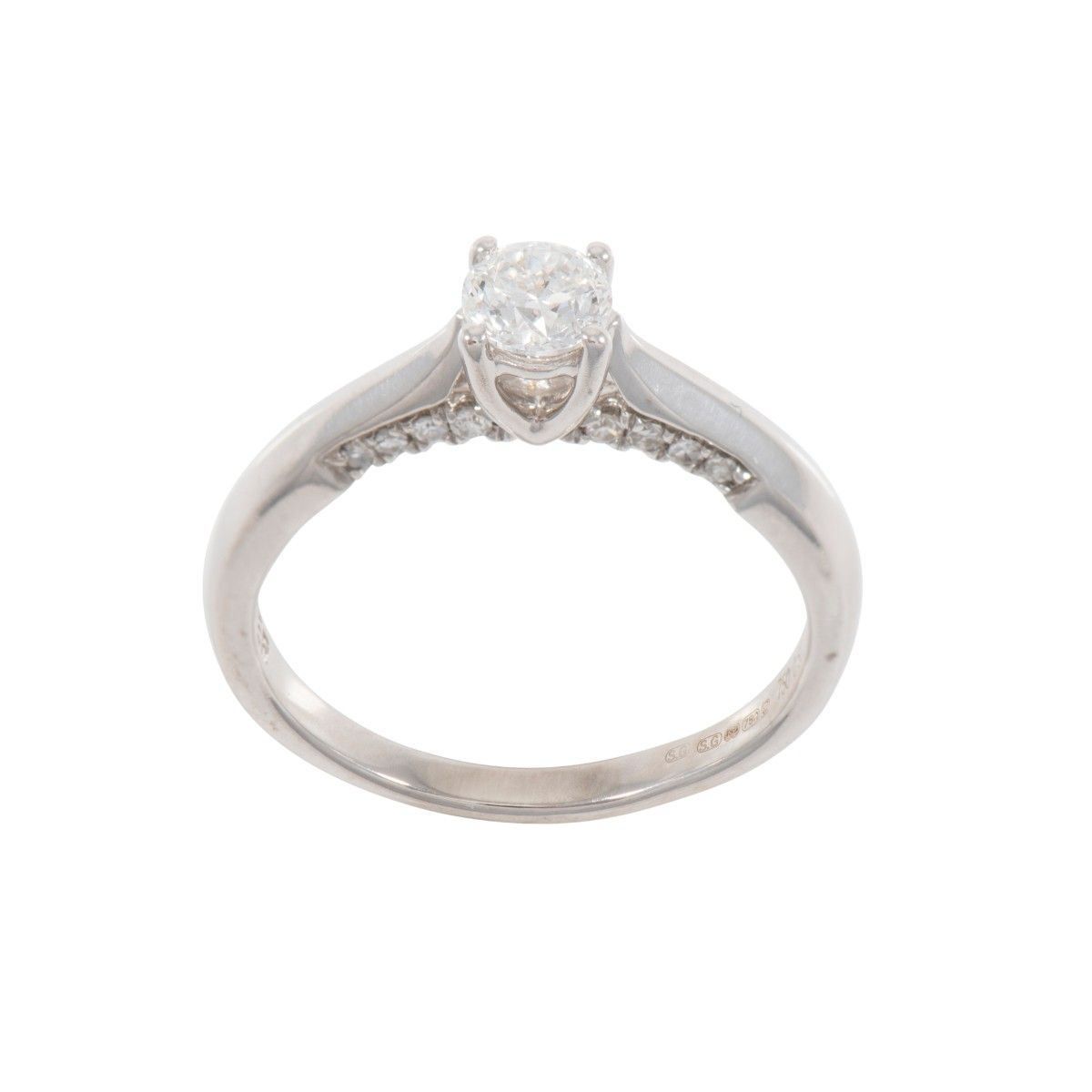 18ct White Gold Ladies 0.58ct Solitaire Ring With Accent Stones Size N
