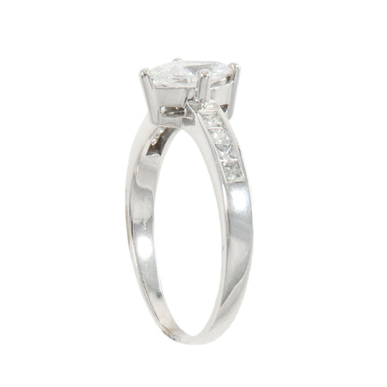 18ct White Gold 0.84ct Diamond Accent Solitaire Ladies Ring Size S