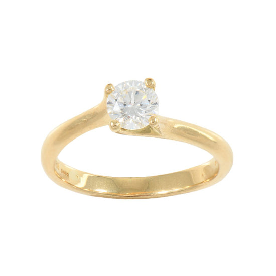 18ct Yellow Gold Ladies Round 0.50ct Diamond Solitaire Ring Size K