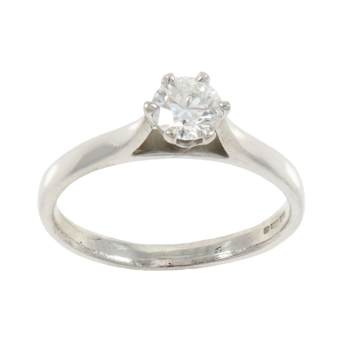 Platinum 0.50ct Diamond Solitaire Single Stone ladies Ring Size K