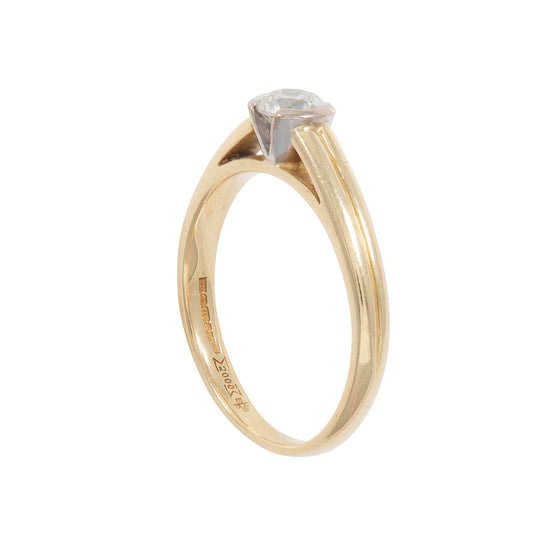 18ct Gold 0.50ct Diamond Solitaire Ring Ladies Size R