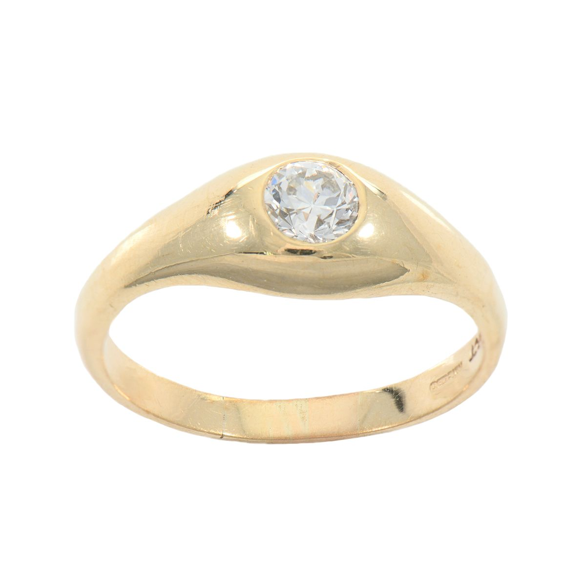 9ct Yellow Gold Ladies Round 0.50ct Diamond Solitaire Ring Size N
