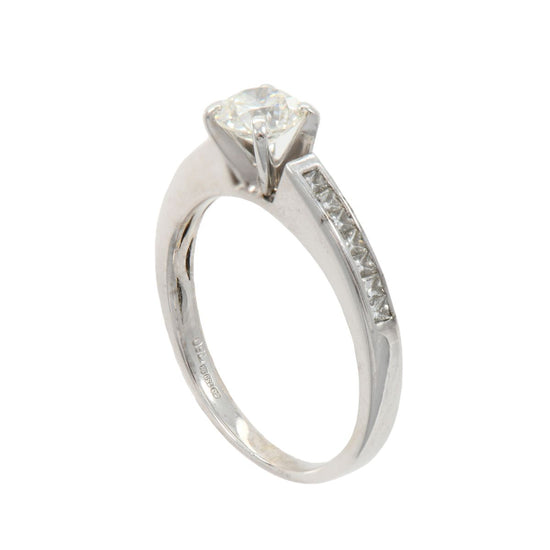 18ct White Gold 0.67ct Solitaire Ring With Accent Stones Size M