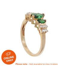Load image into Gallery viewer, 18ct Yellow Gold Diopside & Diamond Cluster Ring Ladies Size O