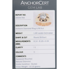Load image into Gallery viewer, 9ct Yellow Gold 1.8ct Diamond Solitaire Ladies Signet Ring Size N