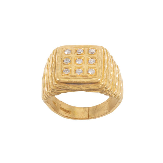 22ct Gold Patterned Signet Ladies Ring Size L
