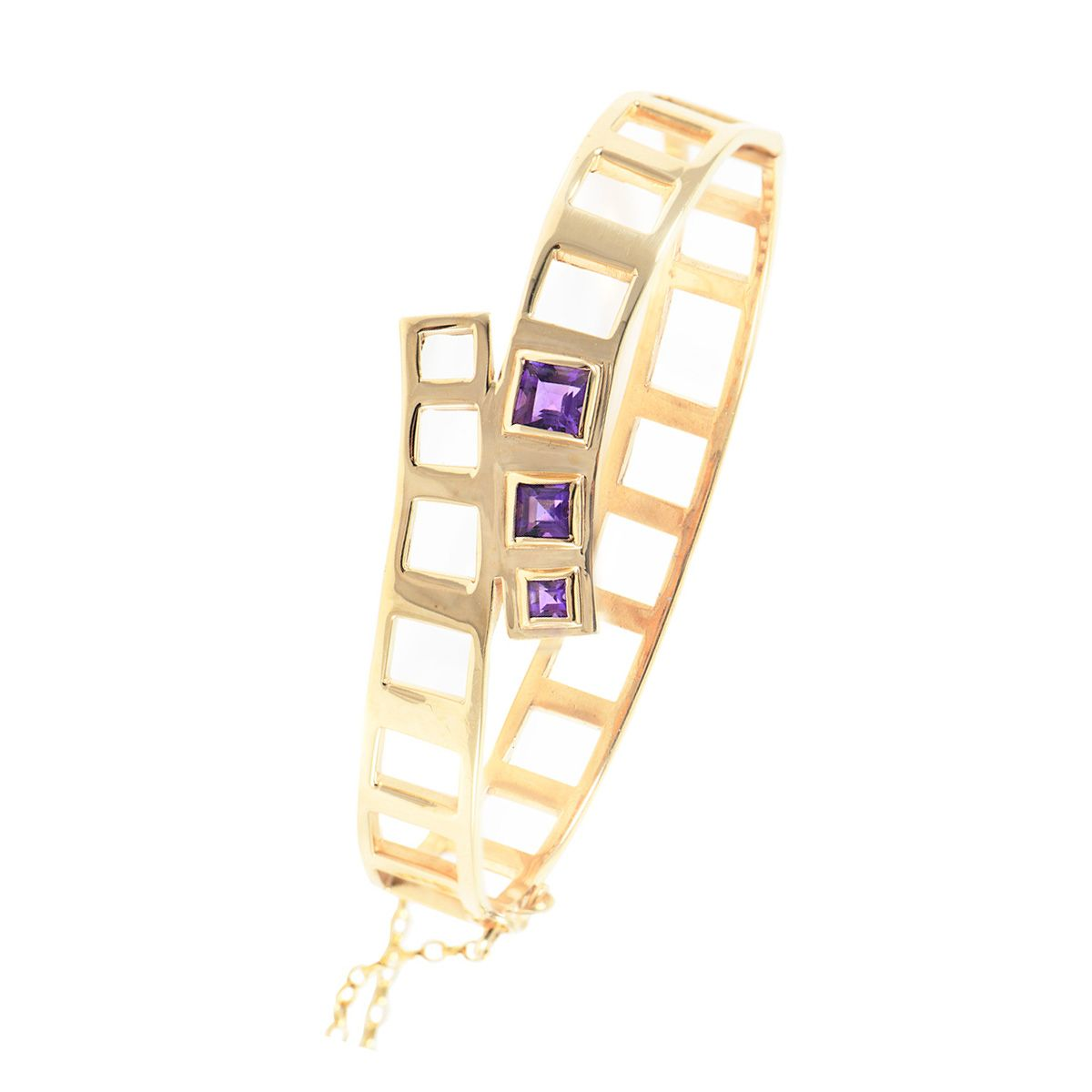 9ct Yellow Gold Amethyst Stone Set Hinged/Clasp Bangle Size 18cm
