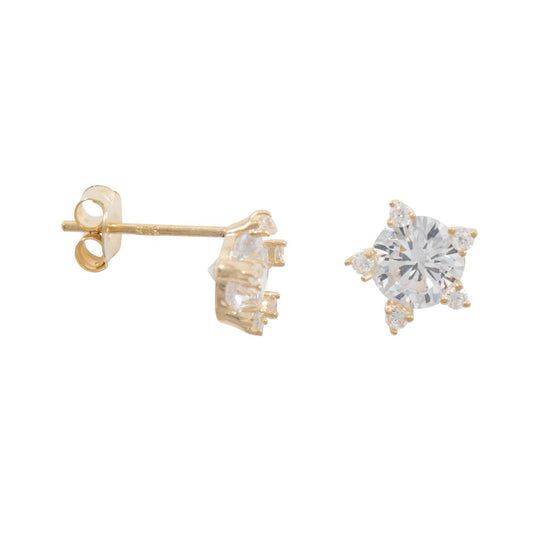Cubic Zirconia Star Stud Earrings 9ct Gold