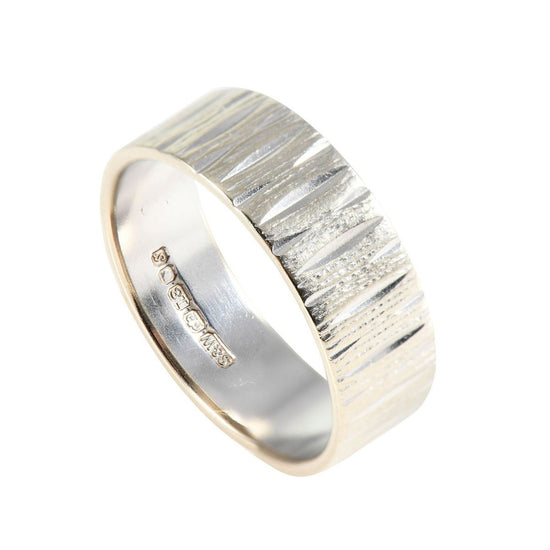 18ct White Gold Patterned Wedding Band Ladies Size N