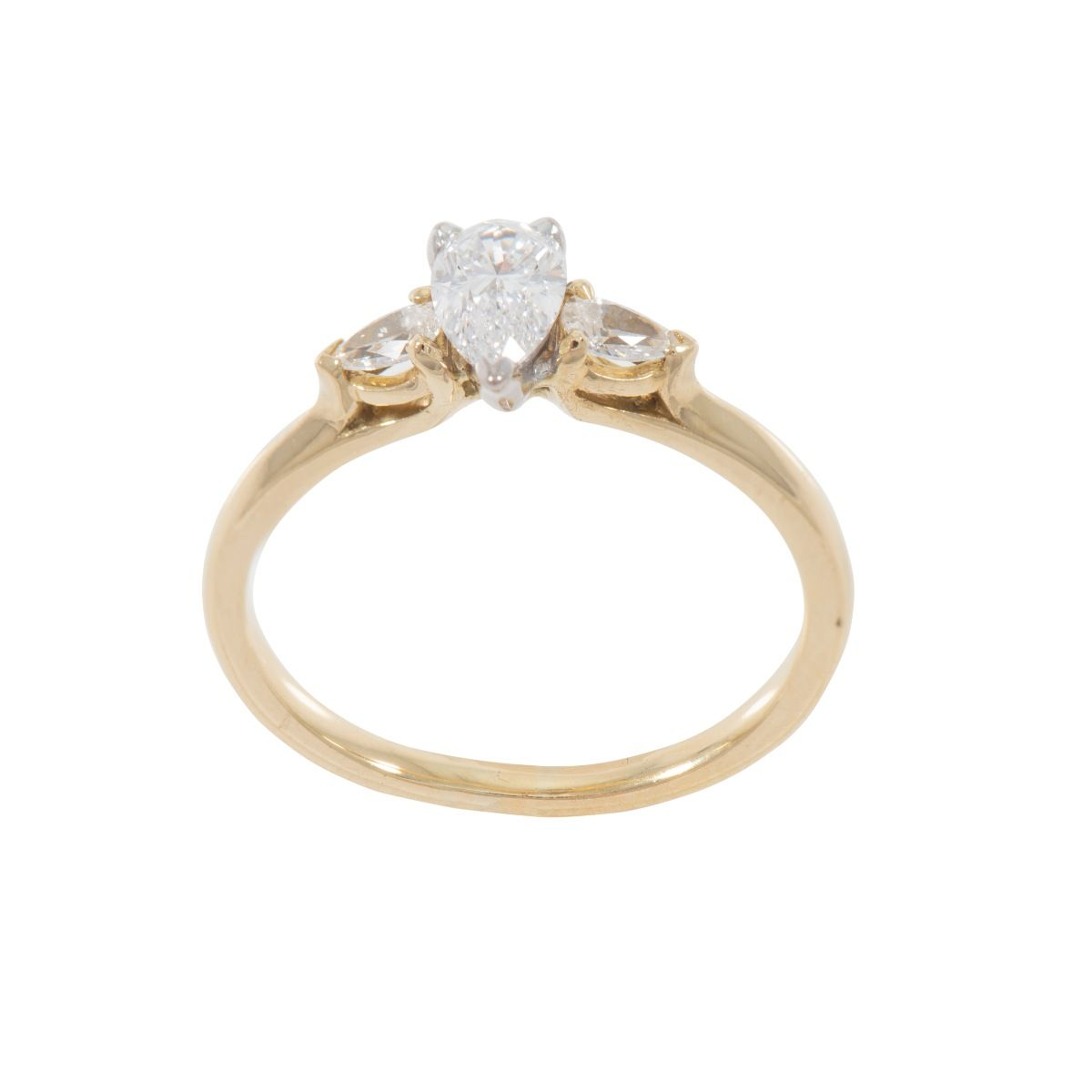 18ct Yellow Gold Ladies Pear Cut 0.66ct Diamond Trilogy Ring Size O
