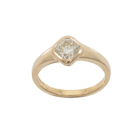 18ct Yellow Gold 0.80ct Modified Cushion Cut Diamond Solitaire Ring Ladies Size N