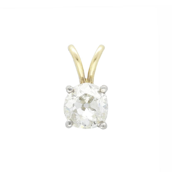 9ct Yellow Gold 0.98ct Old Mine Cut Diamond Solitaire Ladies Pendant