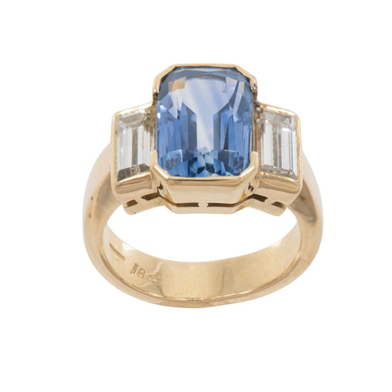 18ct Yellow Gold Sapphire and Diamond Trilogy Ring Ladies Size L