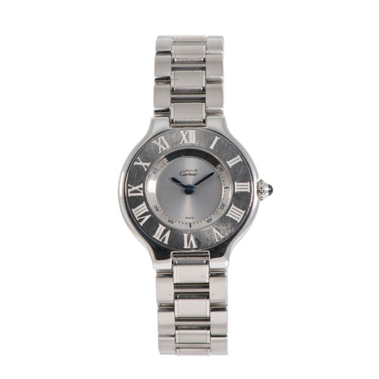 Cartier Must 21 1340 Stainless Steel & Grey 28mm Ladies Watch