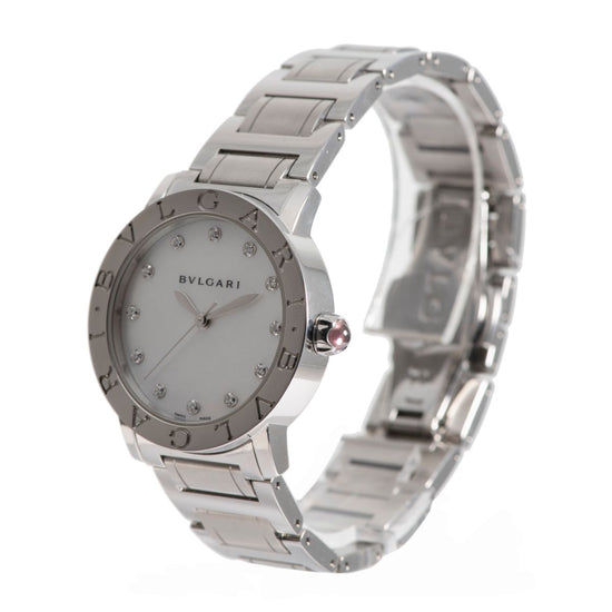 Bvlgari BBL33S Steel & Mother of Pearl Diamond 33mm Ladies Watch