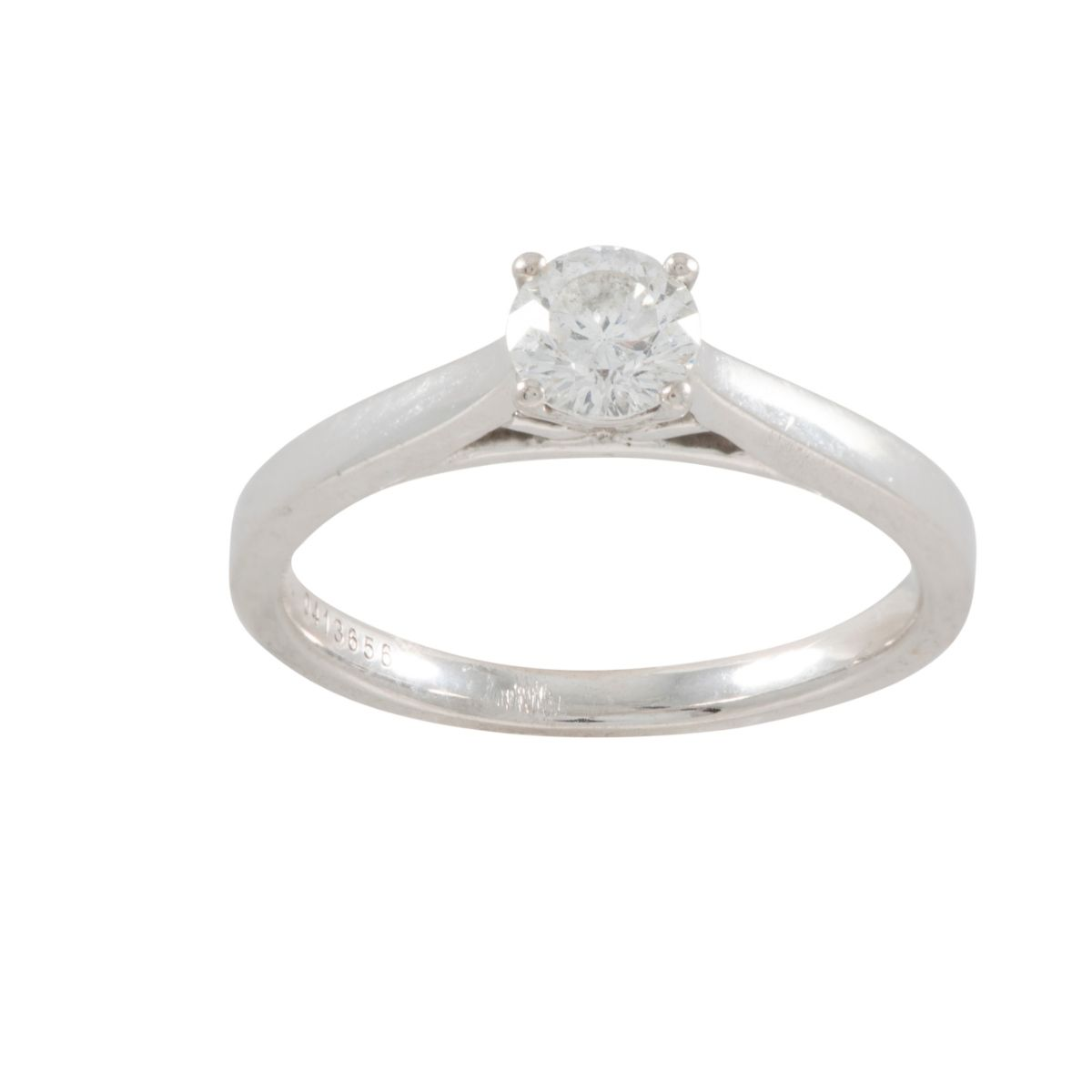18ct White Gold 0.50ct Diamond Solitaire Ladies Ring (N)