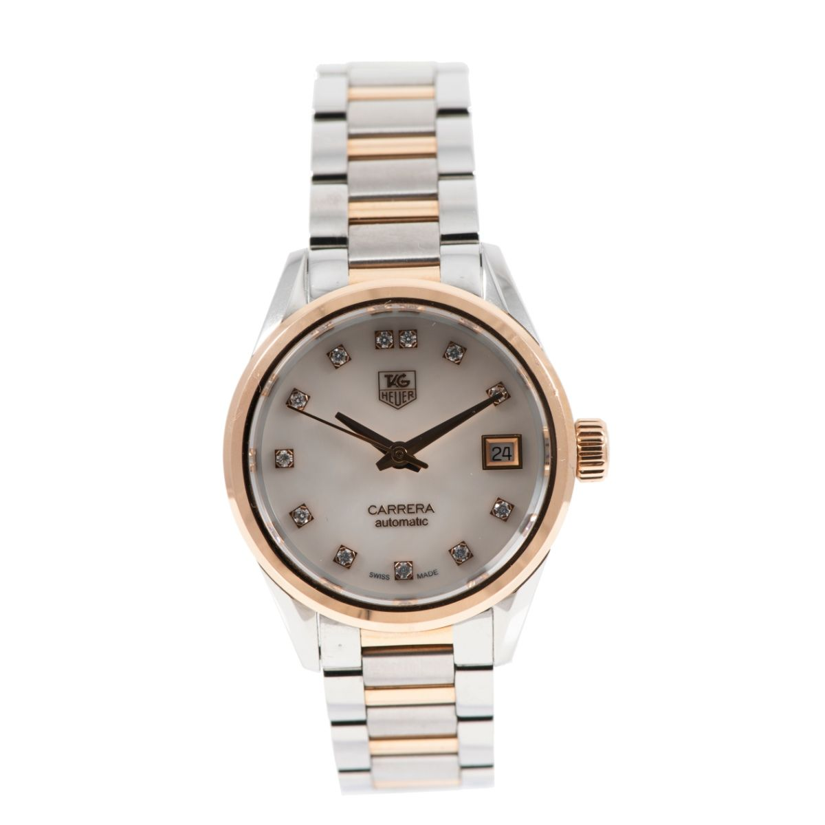 Tag Heuer Carrera WAR2452-2 Bi-Colour & Mother of Pearl Diamond 28mm Ladies Watch