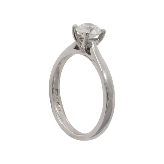 Platinum 0.64ct Round Brilliant Cut Diamond Solitaire Ring Ladies Size M