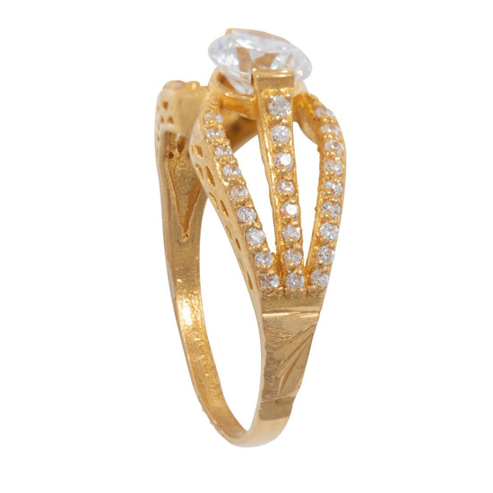 22ct Yellow Gold Cubic Zirconia Stone Set Ladies Dress Ring (O)