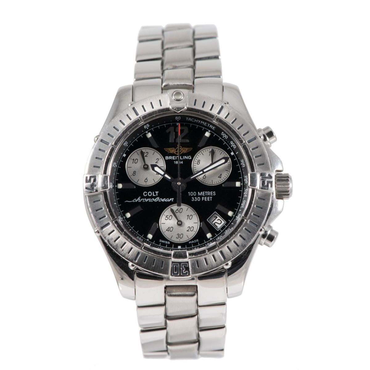 Breitling Colt A53350 Chronograph Steel & Black 37.5mm Mens Watch
