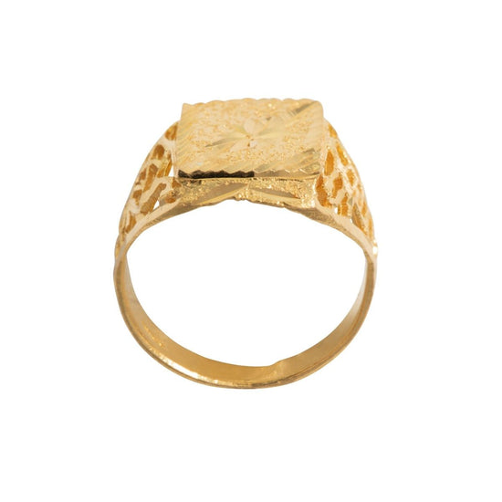 22ct Yellow Gold Mens Size R Patterned Signet Ring