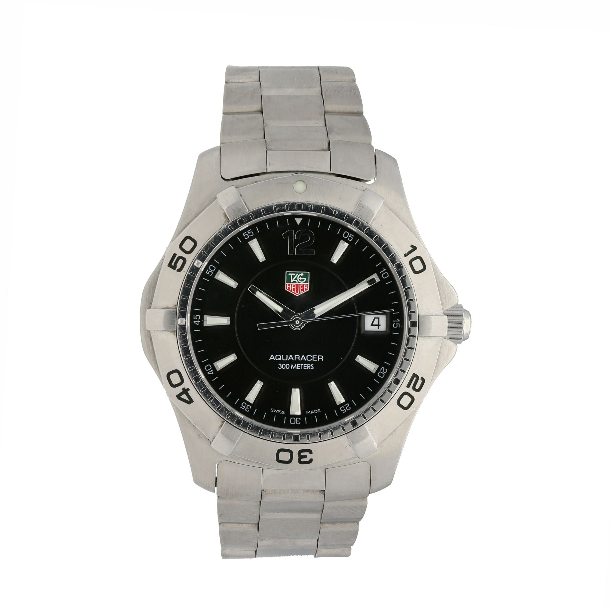 Tag Heuer Aquaracer WAF1110 Stainless Steel & Black 38mm Quartz Mens Watch
