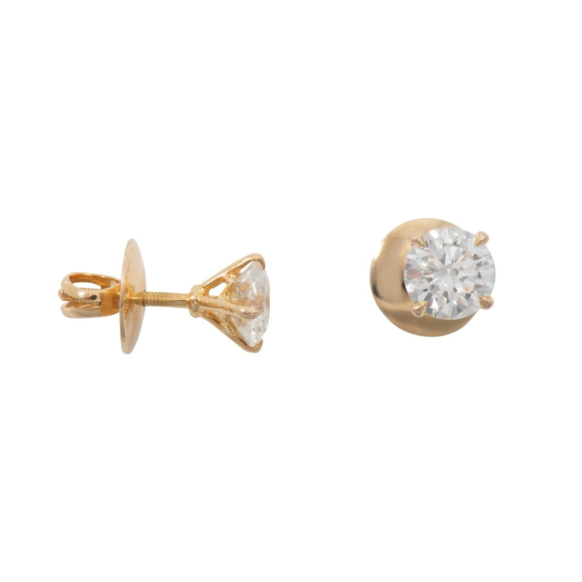14ct Yellow Gold 2.00ct Round Brilliant Cut Diamond Solitaire Ladies Earrings