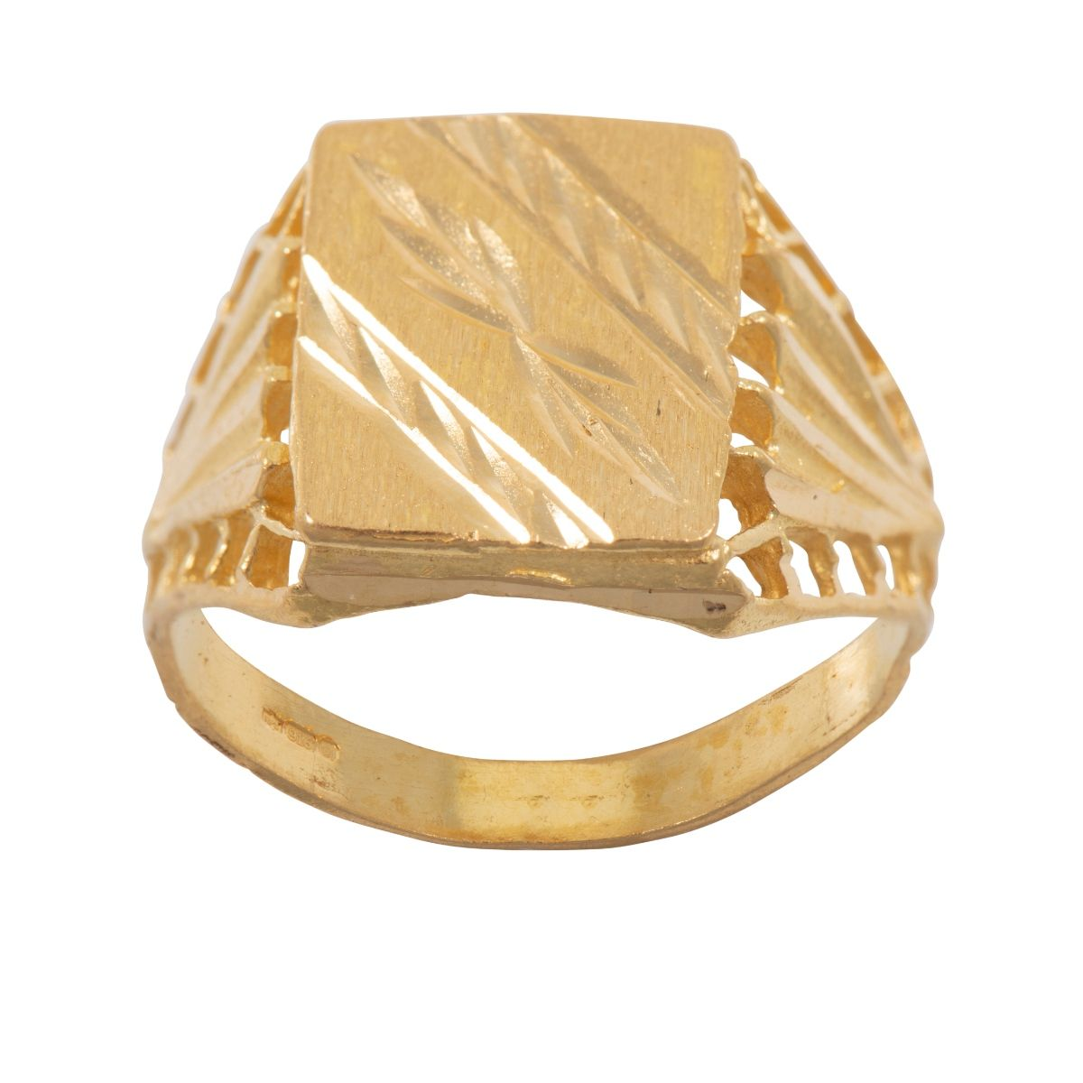 22ct Yellow Gold Patterned Signet Ring Mens Size R #8M8NR