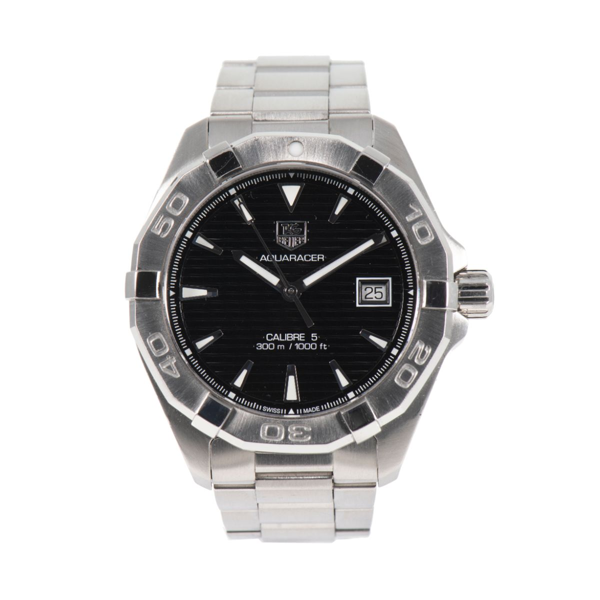 Tag Heuer Aquaracer WAY2110 Steel & Black 40mm Mens Watch