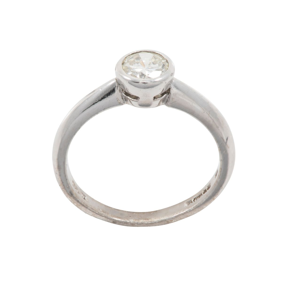 18ct White Gold 0.50ct Round Brilliant Cut Diamond Solitaire Ring Ladies Size K