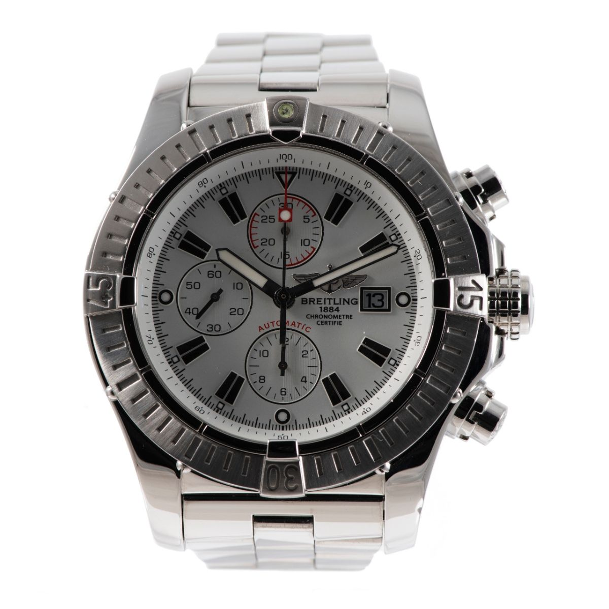 Breitling Super Avenger A13370 Chronograph Steel & White 48.4mm Mens Watch