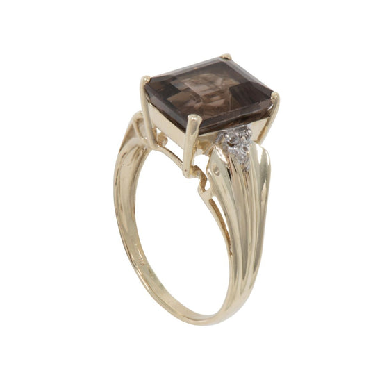 9ct Smokey Quartz & White Topaz Accent Solitaire Ladies Ring Size N