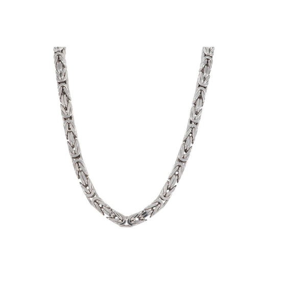 9ct White Gold Byzantine Chain Mens 28 Inches