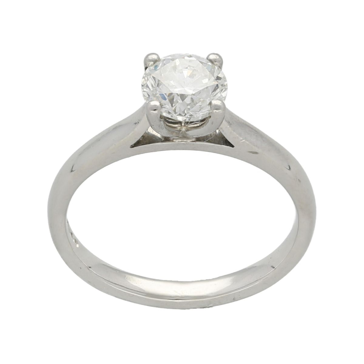 Platinum 1.01ct Round Brilliant Cut Diamond Solitaire Ladies Ring Size L