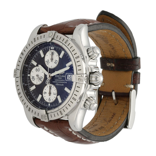 Breitling Chronomat Evolution A13356 44mm Chronograph Blue & Stainless Steel Mens Watch