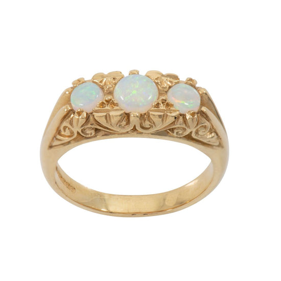 18ct Yellow Gold Ladies Opal Trilogy Ring Size O