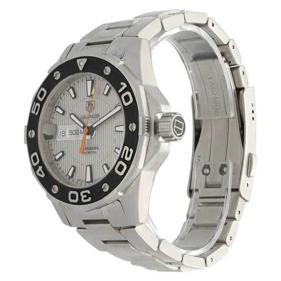Tag Heuer Aquaracer WAJ1111 43mm Grey & Stainless Steel Quartz Mens Watch