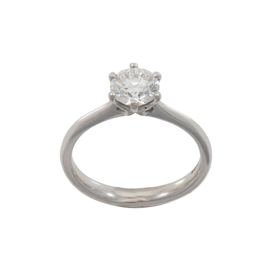 Platinum 1.00ct Round Brilliant Cut Diamond Solitaire Ring Ladies Size M