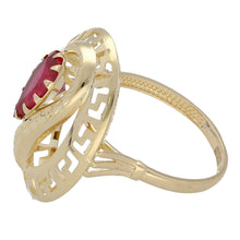 Load image into Gallery viewer, 14ct Yellow Gold Red Stoneset Fancy Ladies Ring Size R