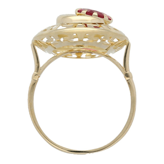 14ct Yellow Gold Red Stoneset Fancy Ladies Ring Size R