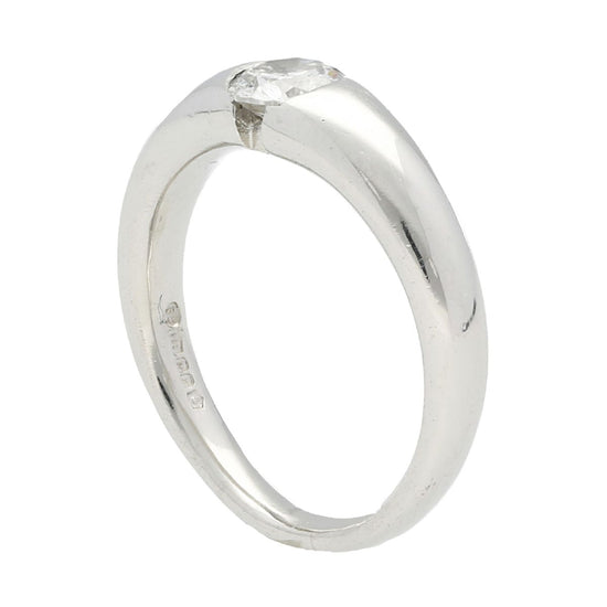 Platinum 0.55ct Round Brilliant Cut Diamond Solitaire Ring Ladies Size L