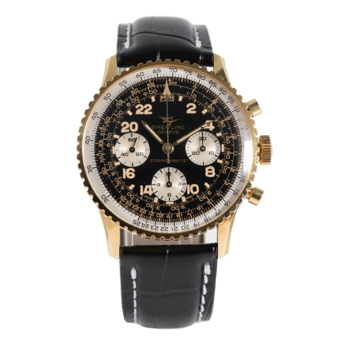 Breitling Cosmonaute 809 Gold Plated & Black 41.5mm Mens Watch