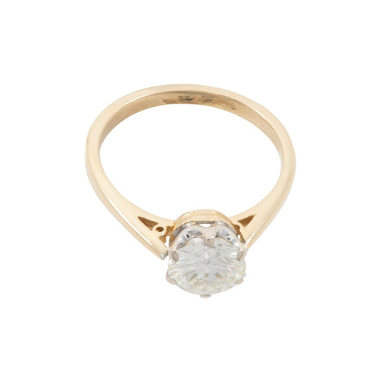 18ct Yellow Gold 1.25ct Round Brilliant Cut Diamond Solitaire Ring Ladies Size P