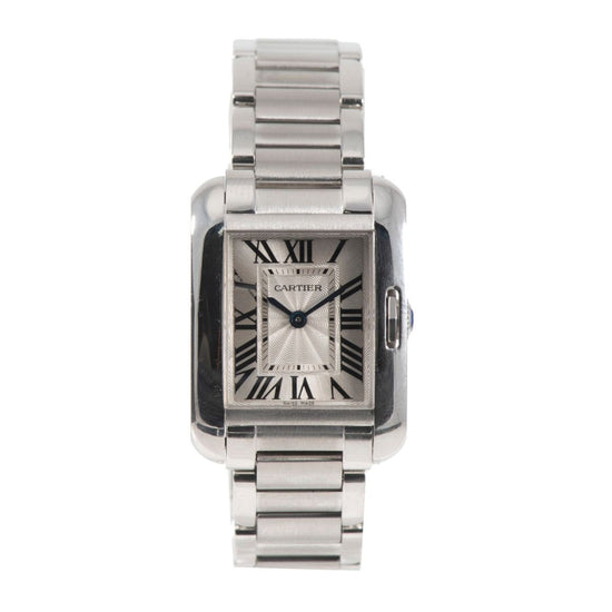 Cartier Tank Anglaise 3485 Steel & Grey 22.5mm Ladies Watch